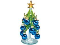 Стеклянная ёлка на зеркальной подставке с миниатюрными шариками, синие. Накануне Рождества елку надо нарядить и поставить в офисе или дома. Праздничное настроение и удача гарантированы… купить