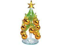 Стеклянная ёлка на зеркальной подставке с миниатюрными шариками, золотистые. Накануне Рождества елку надо нарядить и поставить в офисе или дома. Праздничное настроение и удача гарантированы… купить
