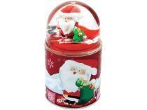 Три подарка в одном, красный.  Плюшевый дед Мороз в подарочной коробке, которую можно использовать в качестве подставки под ручки. Крышкой служит пресс-папье с Дедом Морозом и падающим снегом купить