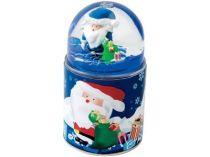 Три подарка в одном, синий. Плюшевый дед Мороз в подарочной коробке, которую можно использовать в качестве подставки под ручки. Крышкой служит пресс-папье с Дедом Морозом и падающим снегом купить