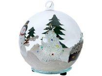 Рождественская ёлка в заснеженном лесу со снеговиком и лесными зелеными красавицами в шаре с меняющей цвет подсветкой купить