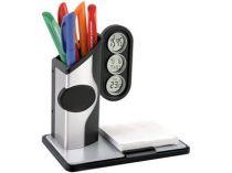 Подставка под ручки с часами, датой, термометром, бумажным блоком, серебристая от Oma-Promo, Art. o1_612110 Promo