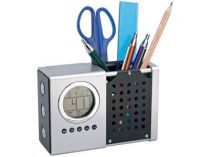 Настольный прибор с часами, радио, подставкой под ручки и выдвижной лампой для чтения купить