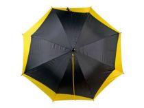 Зонт-трость полуавтоматический со шнуром, черный с желтым купить