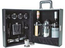 """Набор """"Дипкурьер"""": фляжка на 200 мл, шейкер, четыре складных стакана, воронка, щипцы для льда, мерный стакан, штопор-открывалка в кожаном кейсе купить"""