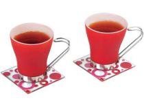 Чайная пара: 2 чашки на 125 мл, 2 подставки под горячее, красная купить