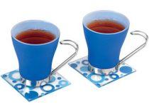 Чайная пара: 2 чашки на 125 мл, 2 подставки под горячее, синяя купить