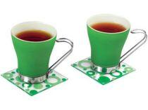 Чайная пара: 2 чашки на 125 мл, 2 подставки под горячее, зеленая купить
