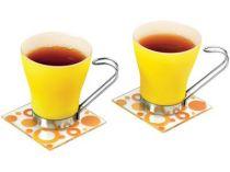 Чайная пара: 2 чашки на 125 мл, 2 подставки под горячее, желтая купить