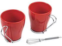 Набор: 2 чашки по 235 мл, 2 салфетки, кольца для салфеток, 2 венчика для взбивания пены, красный купить