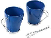 Набор: 2 чашки по 235 мл, 2 салфетки, кольца для салфеток, 2 венчика для взбивания пены, синий купить