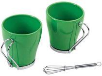 Набор: 2 чашки по 235 мл, 2 салфетки, кольца для салфеток, 2 венчика для взбивания пены, зеленый купить