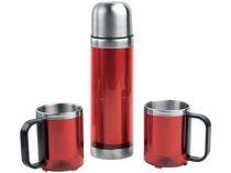 Набор: термос на 500 мл, 2 кружки на 220 мл в дорожной сумке с термоизоляцией, красный купить