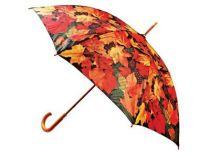 Зонт-трость с деревянной ручкой «Золотые листья» купить