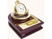 """Часы """"Магистр"""" на деревянной подставке и цепочкой для ношения в кармане купить"""