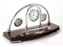 """Погодная станция """"Кембридж"""": часы, термометр, гигрометр на деревянной подставке купить"""