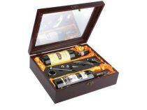 """Винный набор """"Коллекция"""": термометр, металлическая пробка, воротничок на бутылку, штопор-открывалка и устройство для аккуратного розлива в деревянной коробке с отделениями для двух бутылок купить"""