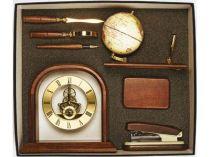 """Настольный набор """"Достойный выбор"""": часы, подставка под ручку с глобусом и ручкой, коробочка для визиток, степлер, лупа, нож для бумаг купить"""