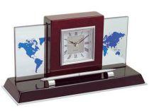"""Настольный прибор """"Карибы"""" с часами, ручкой и картой мира купить"""