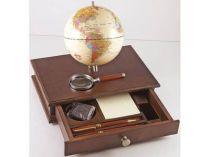 """Настольный прибор """"Континент"""" с глобусом, лупой и деревянными ручками купить"""