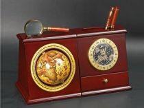 """Настольный прибор """"Колумб"""": глобус, лупа, часы, ручка, нож для бумаг купить"""