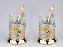 """Набор: 2 стакана с подстаканниками """"Охотники на привале""""* купить"""