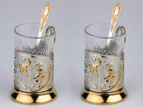 """Набор: 2 стакана с подстаканниками """"Русские пляски""""* купить"""